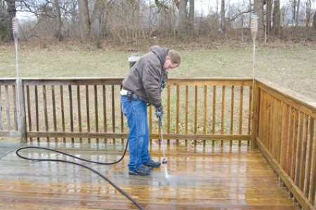 Deck power cleaning